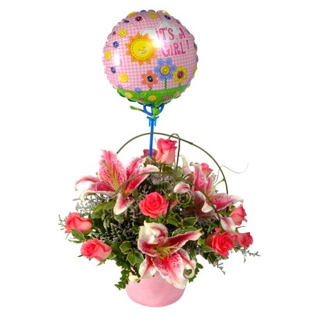 Pink Baby Flowers for a Girl with Balloon