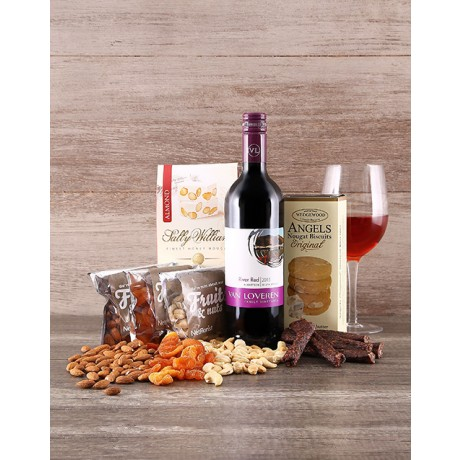 Wine, nuts, biltong & Nougat Hamper