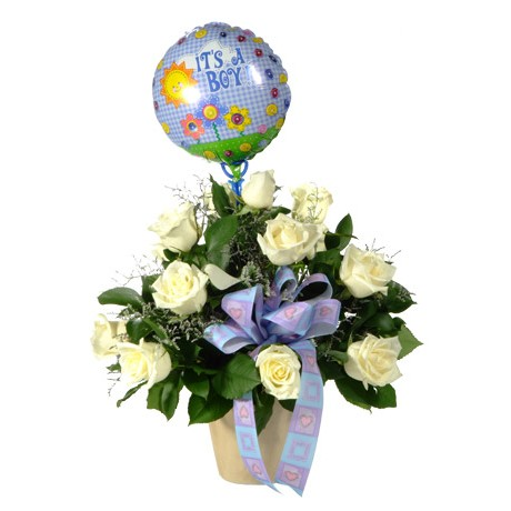 Flowers for a Baby Boy with Balloon