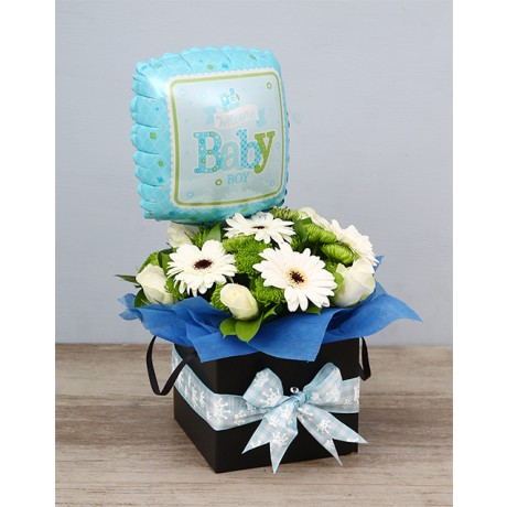 Baby boy Floral box and balloon