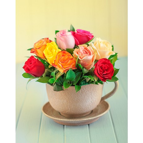 Mixed Roses in a Teacup
