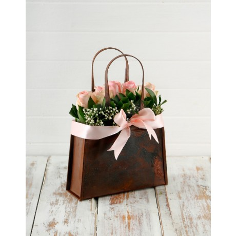 Pink Roses in Metal Handbag