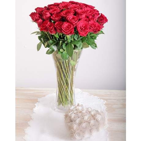 Red Roses in a Glass Vase for Valentine's Day