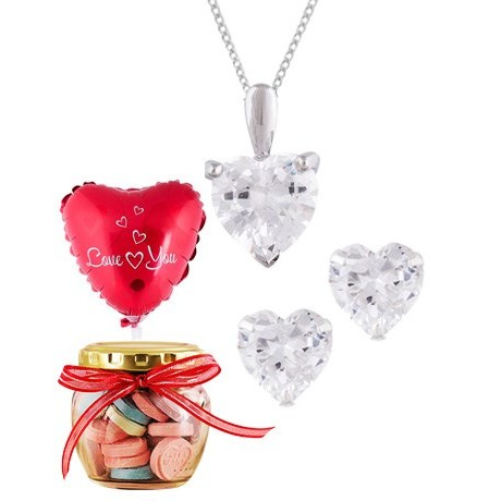 Silver Heart Cubic Set