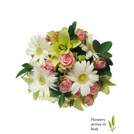 Pastel Mothers Day Bouquet of Gerberas, Lilies & Roses