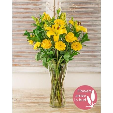 Yellow lilies, roses & gerbera vase
