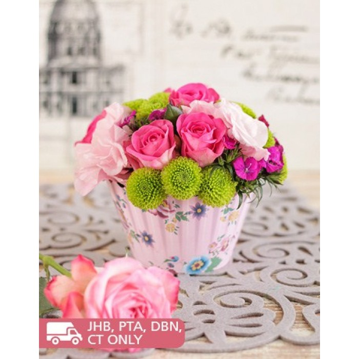 Pink rose flower cupcake arrangement south africa inmotion flowers pink roses flower cupcake posy mightylinksfo