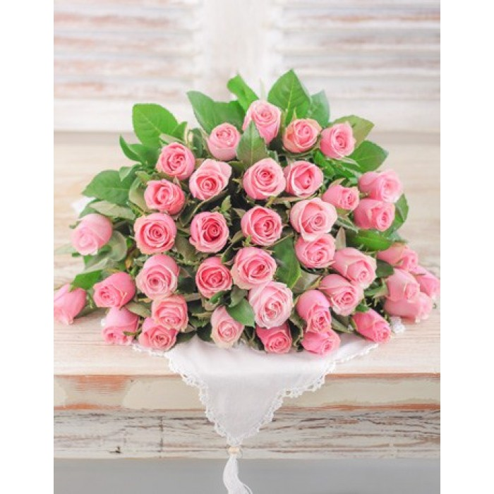 Pink Roses In Cellophane