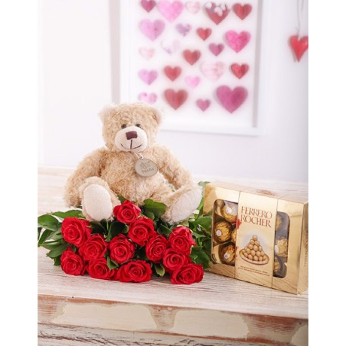 romantic rose combo  red roses, teddy  chocolates  inmotion flowers, Beautiful flower