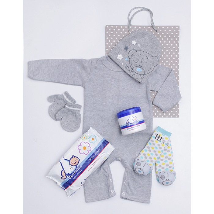 Tatty teddy bear baby gift set south africa inmotion flowers tatty teddy babygrow beanie mittens sock gift negle Gallery