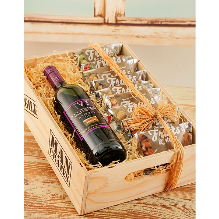 Wedding Gift Boxes Cape Town : Van Loveren Wine & Nuts Man Crate South Africa inMotion Flowers