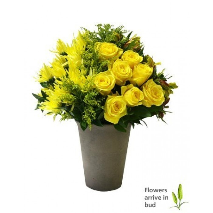 Flower Girl Baskets Durban : Happiness yellow lilies roses and chrysanths