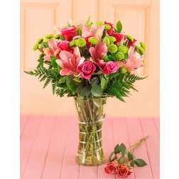 Pink Lilies & Roses in a Vase
