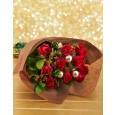 Red Roses & Christmas Baubles Bouquet