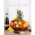 Fruit, juice, biltong and nut hamper