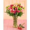 Valentine's Day Pink Lilies & Roses in a Vase