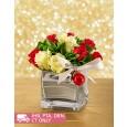 Red & White Rose Christmas Arrangement