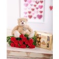 Valentines Roses, Teddy & Chocolates