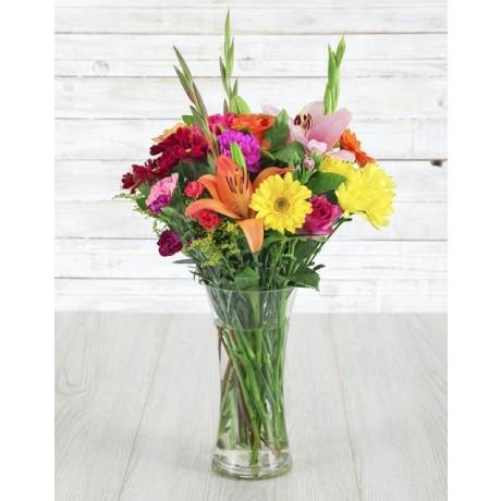 Mixed Seasonal Flowers in a Vase