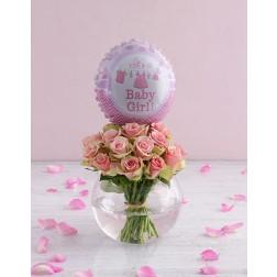 Baby Girl Roses in a Vase