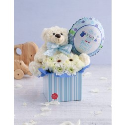 Baby boy Floral box with teddy and balloon