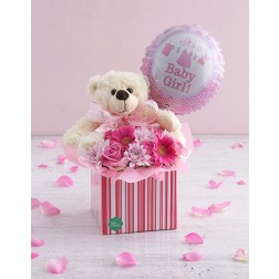 Baby girl floral box with teddy and balloon