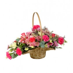 Mixed Flowers in a Scoop Basket
