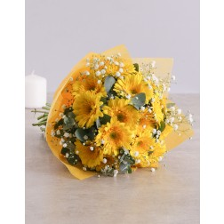Yellow Gerbera Daisy bouquet with greenery