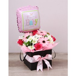 Baby girl floral box and balloon
