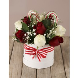 Christmas Rose and Candy Cane Hat Box