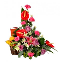 Traditional Upright Arrangement & Fruit Basket