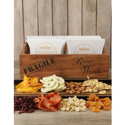 Wooden Crate of Dried Fruits & Nuts