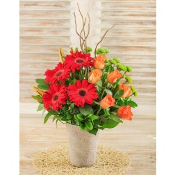 Lily, Gerbera & Rose Flower Arrangement