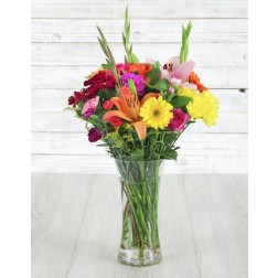 Mixed Seasonal Flowers in a Vase