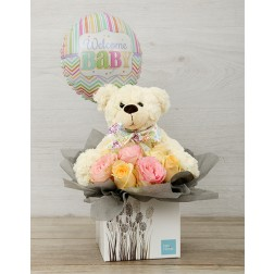 New baby Flower Box with teddy & Balloon