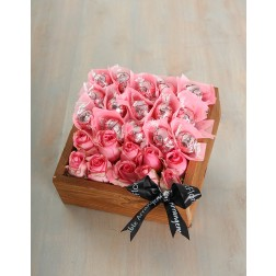 Pink Rose & Lindt Truffle Crate