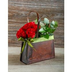 Red Roses in a Handbag Valentines Day