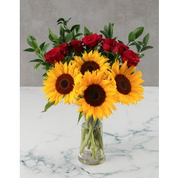 Sunflowers & Red Roses in a Vase