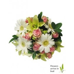Pastel Bouquet of Gerberas, Lilies & Roses