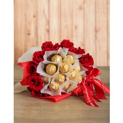 Red Roses and Ferrero Bouquet