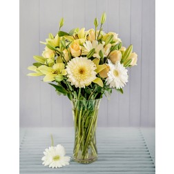 White & Cream Mixed Flower Arrangement