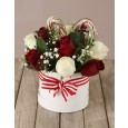 Rose & Candy Cane Christmas Hatbox