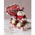 Teddy, balloon, chocs & roses Edible Arrangement