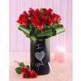 Red Roses in Chalkboard Vase