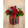 Red Roses tied up in square glass vase