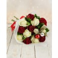 Red & White Roses Christmas Baubles Bouquet
