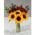 Sunflowers and red rose vase