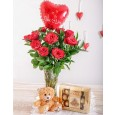 Red Roses in a Vase, Teddy, Chocolates & Balloon